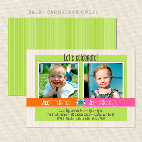 sibling celebration joint birthday party invitations boy girl