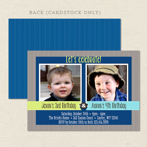 sibling celebration joint birthday party invitations boy