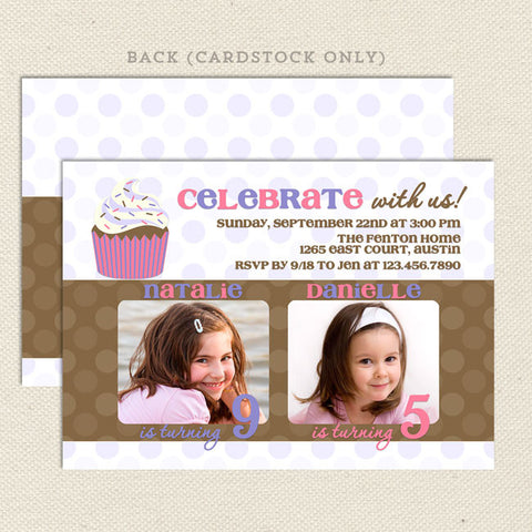 cupcake girl joint birthday party invitations