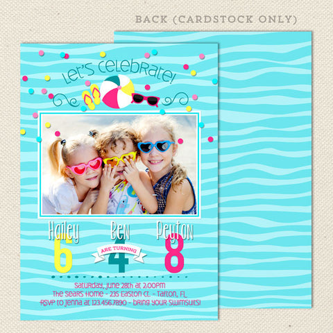 pool party joint birthday invitations