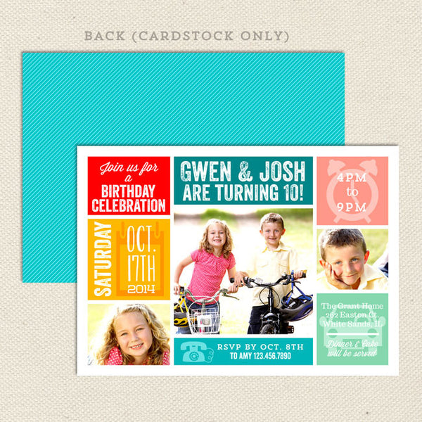 let's party joint birthday invitations boy girl