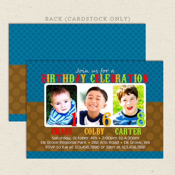 Three 3 child joint birthday party invitations blue