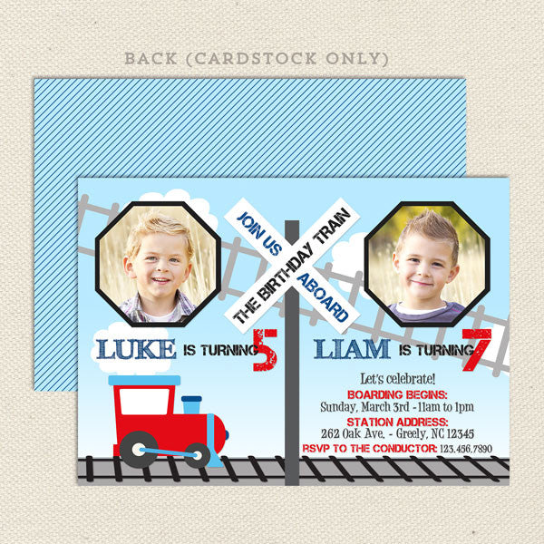 train joint birthday party invitations