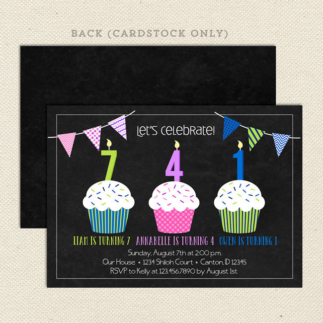 Triple Cupcake Three Child Birthday Party Invitations