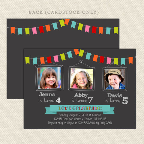 bunting triplet joint birthday party invitations three child