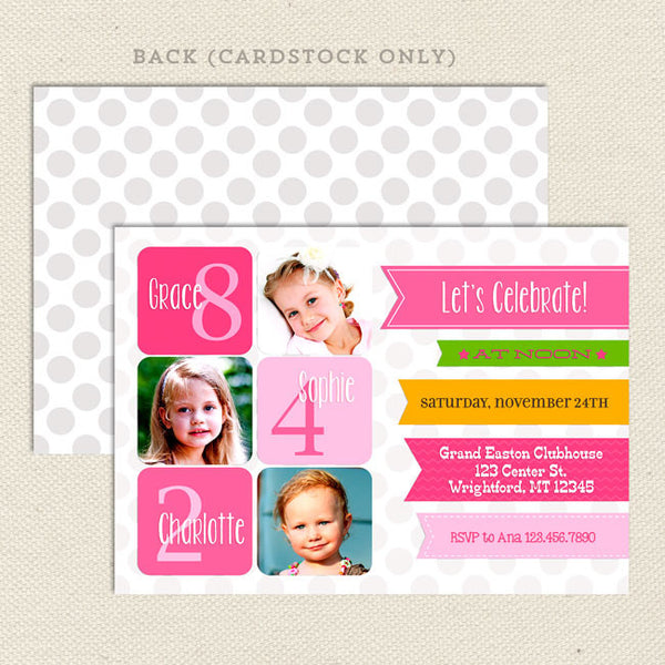 triplet ribbon joint birthday party invitations girl pink