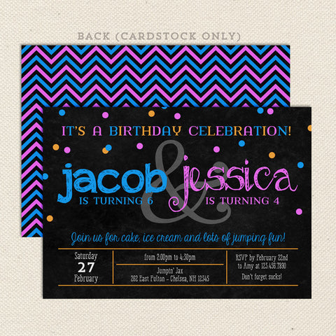 twice the fun joint birthday party invitations boy girl