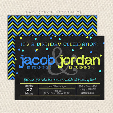 twice the fun joint birthday party invitations boy