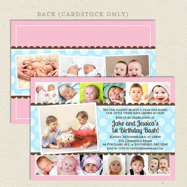 twin 1st year collage birthday party invitations