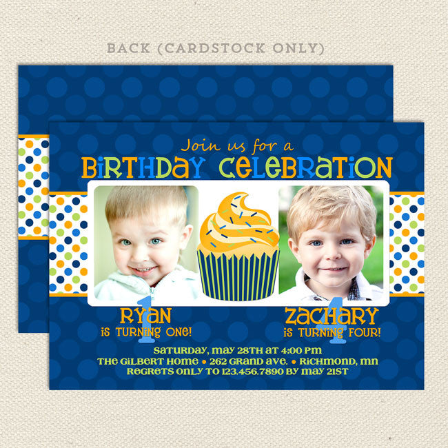 Twin Fun Joint Birthday Party Invitations