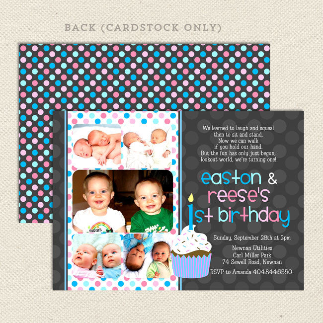 1st Birthday Twin Party Invitations Lil Sprout Greetings