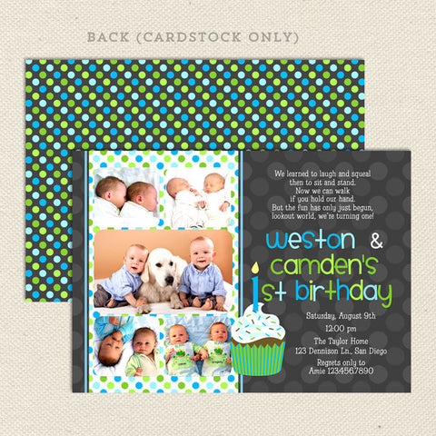 twin 1st birthday party invitations boy