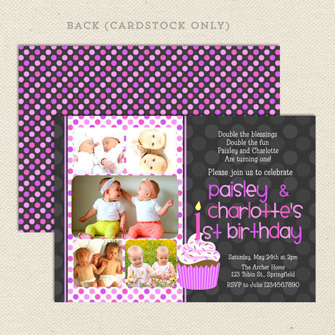 Twin 1st Birthday Party Invitations Girl