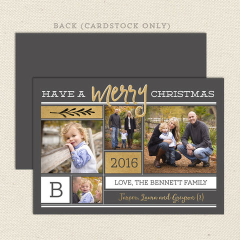 modern merry yellow gold christmas card