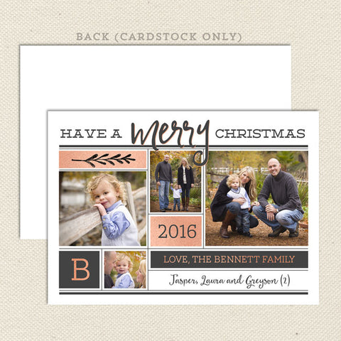 modern merry rose gold christmas card