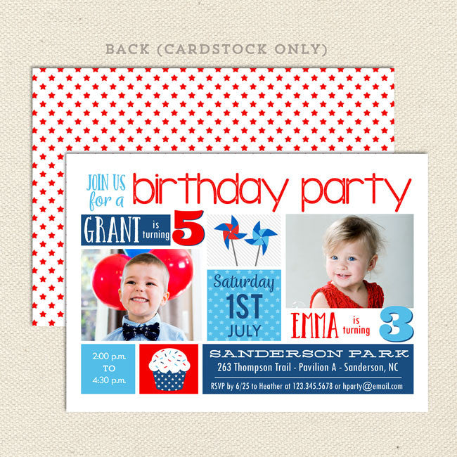 Patriotic Summer Sibling Birthday Party Invitation
