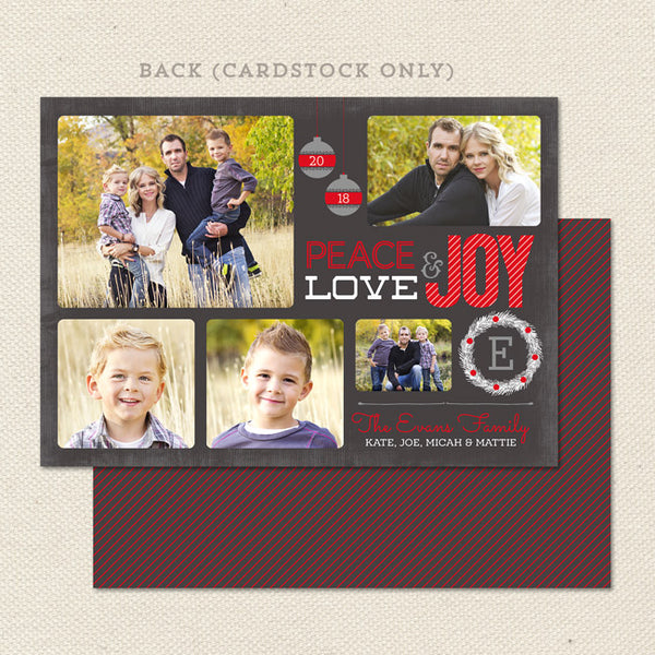 peace love joy printable christmas card red black