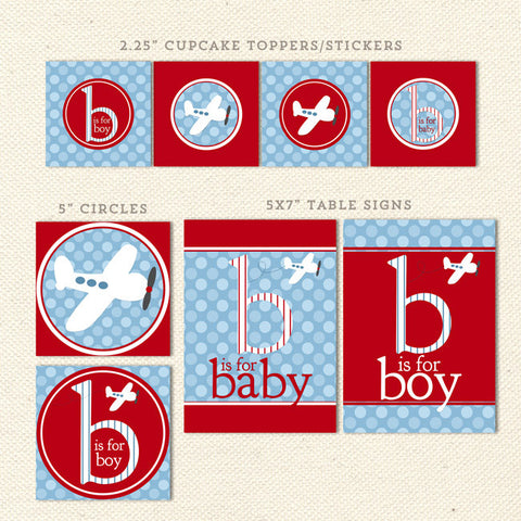 red airplane printable baby shower decorations detail 1