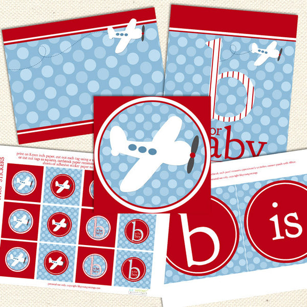 red airplane printable baby shower decorations
