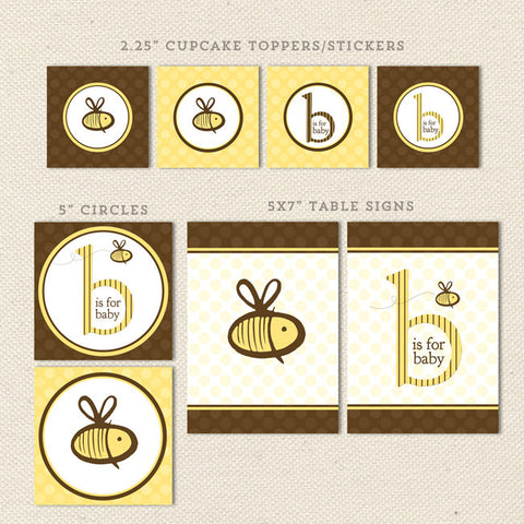 bee gender neutral printable baby shower decorations detail 1