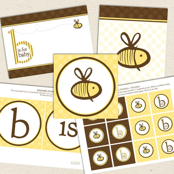 bee gender neutral printable baby shower decorations
