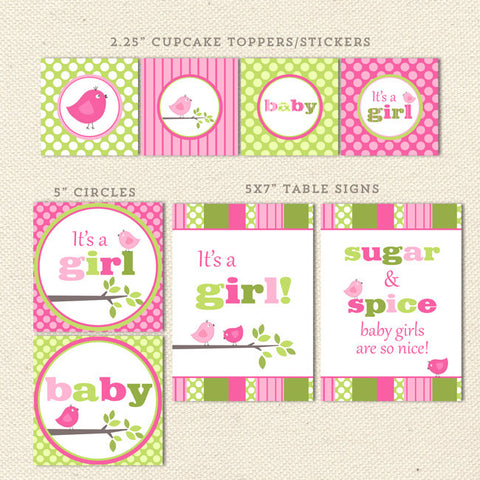 printable baby shower decorations pink green bird detail 1