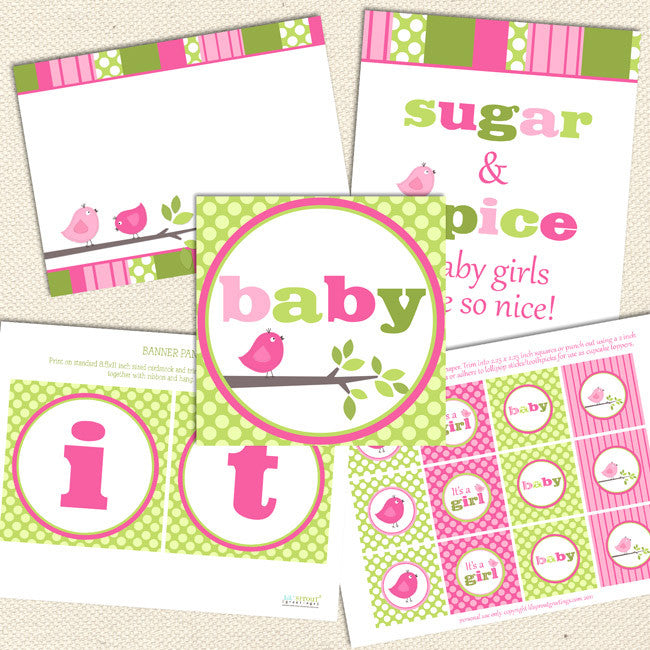 Pink Green Bird Printable Baby Shower Decorations Lil