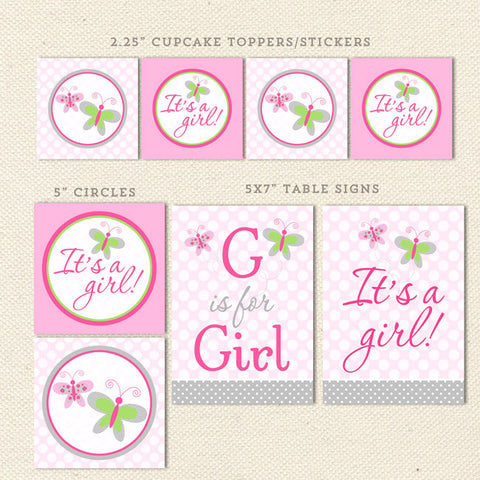 pink butterfly printable baby shower decorations detail 1
