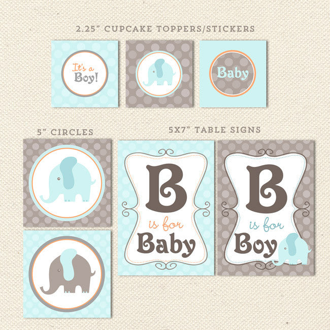 photograph regarding Printable Baby Shower Banners called Elephant Boy Printable Kid Shower Decorations Lil Sprout