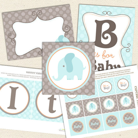 elephant boy printable baby shower decorations turquoise gray blue