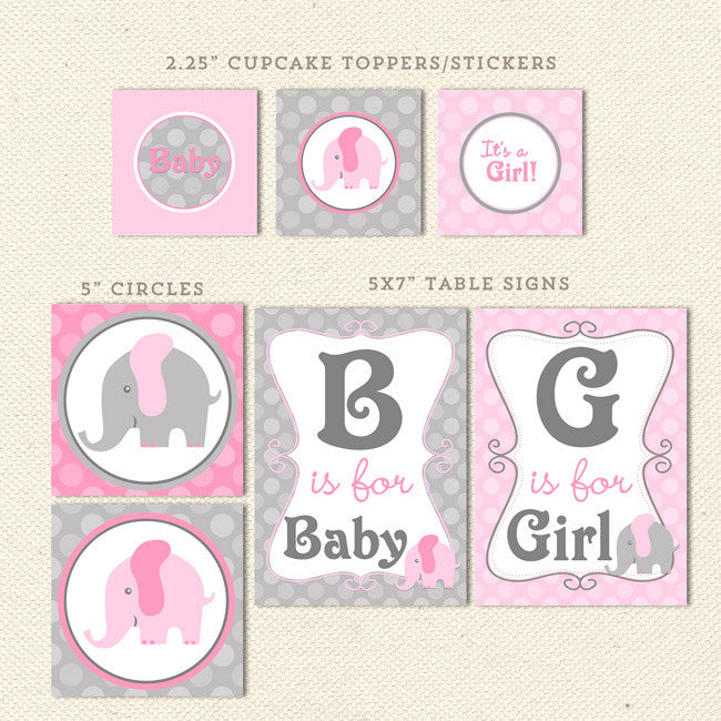 Elephant Girl Printable Baby Shower Decorations Lil Sprout Greetings