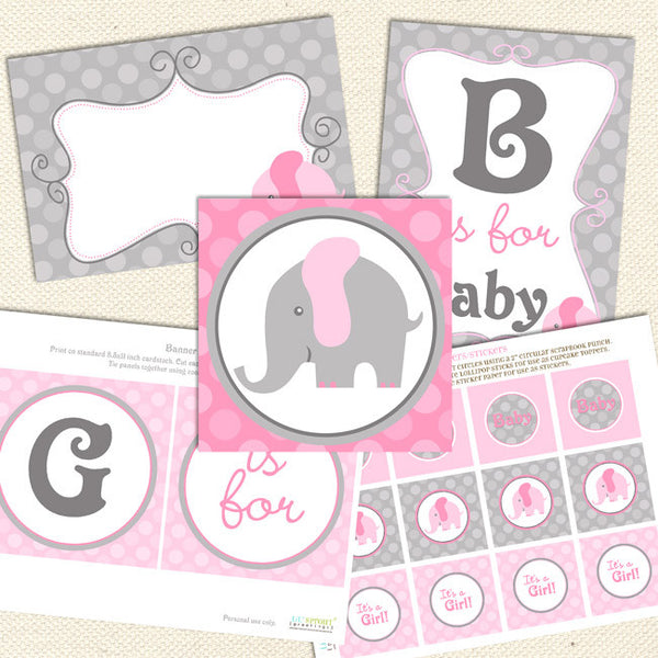 elephant girl printable baby shower decorations pink gray
