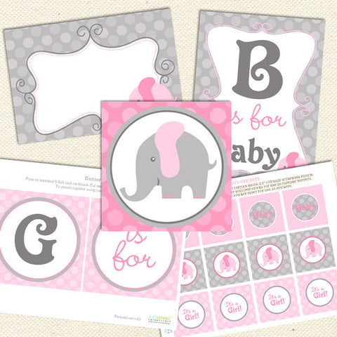 graphic relating to Printable Elephant Baby Shower identify Printable Boy or girl Shower Decorations Lil Sprout Greetings