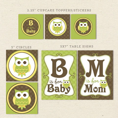 gender neutral owl printable baby shower decorations detail 1