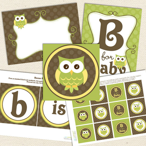 gender neutral owl printable baby shower decorations green yellow