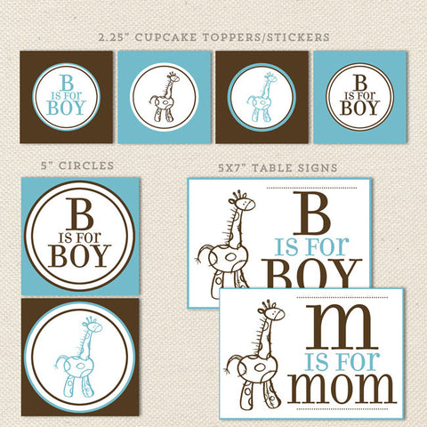 giraffe boy printable baby shower decorations detail 1