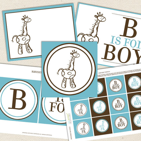 giraffe boy printable baby shower decorations blue