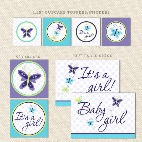 lavender butterfly printable baby shower decorations detail 1