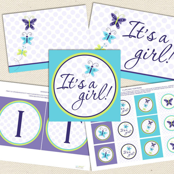 lavender butterfly girl printable baby shower decorations