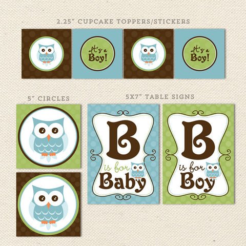 owl boy printable baby shower decorations detail 1
