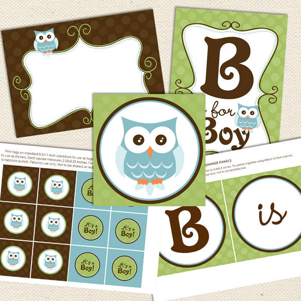 owl boy printable baby shower decorations brown green aqua