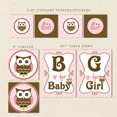 owl girl printable baby shower decorations detail 1