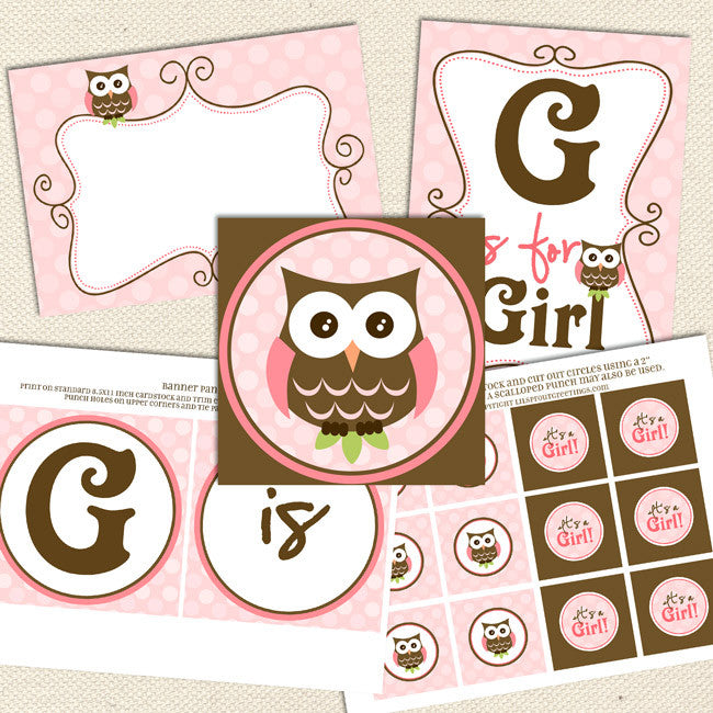 Owl Girl Printable Baby Shower Decorations Lil Sprout