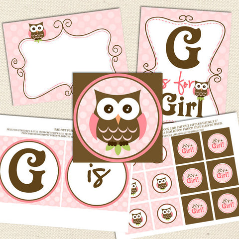 owl girl printable baby shower decorations pink brown