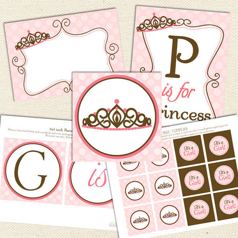 princess printable baby shower decorations pink brown