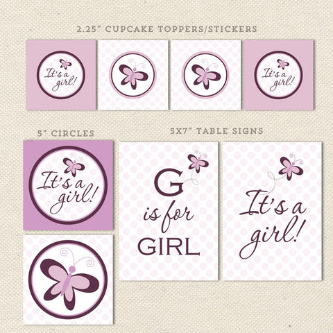 purple butterfly printable baby shower decorations detail 1