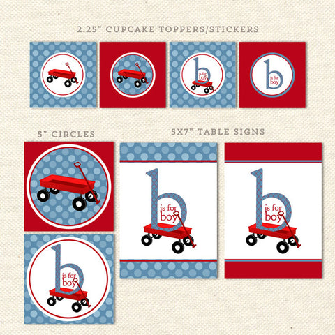 red wagon boy printable baby shower decorations detail 1