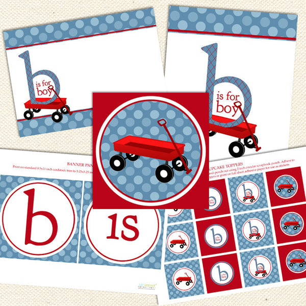 red wagon boy printable baby shower decorations
