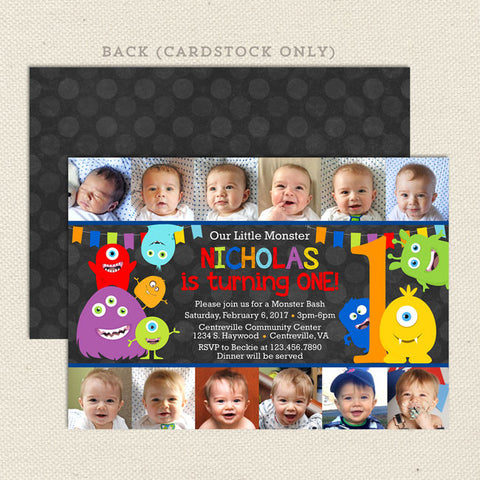 Monster Boy Birthday Invitations