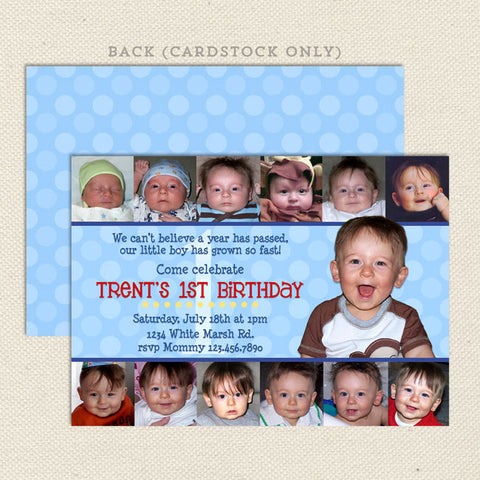 12 photo collage printable boy birthday invitations